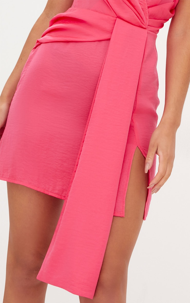 Coral Drape Front Thigh Split Satin Bodycon Dress 5