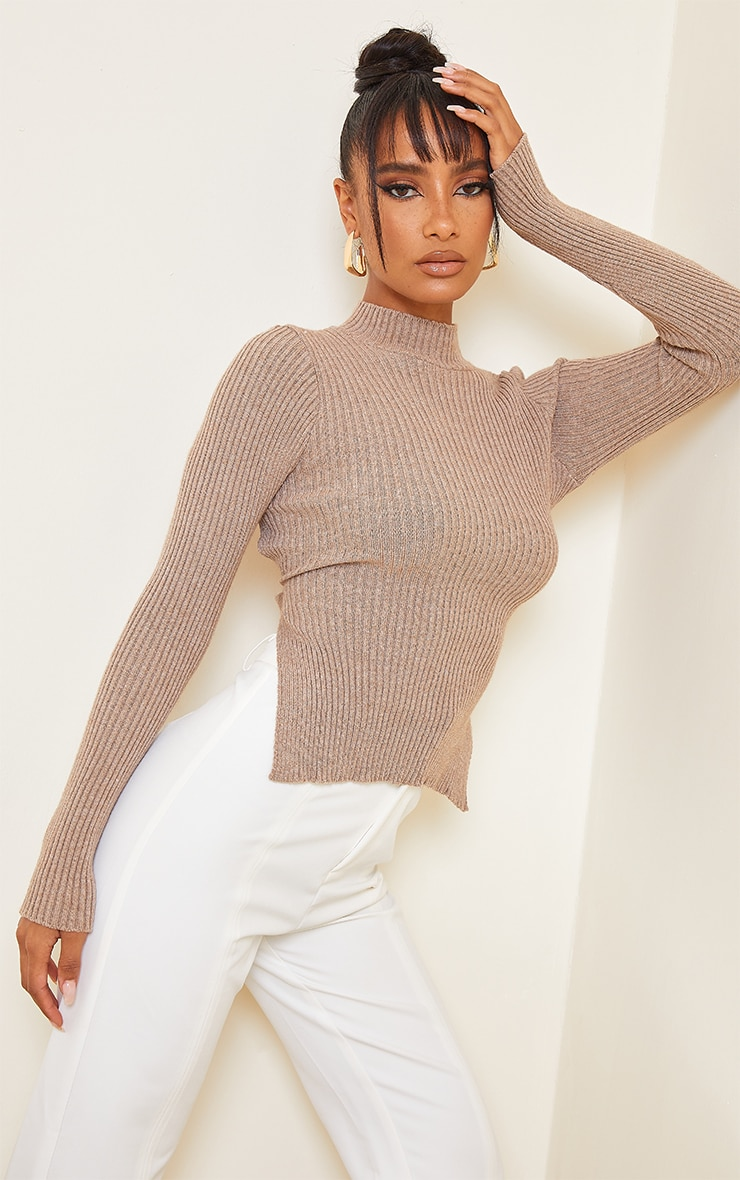 Mocha Tie Back Knitted High Neck Top 2