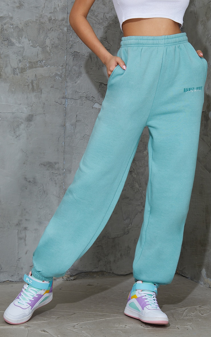 PRETTYLITTLETHING Washed Green Double Logo Joggers 2