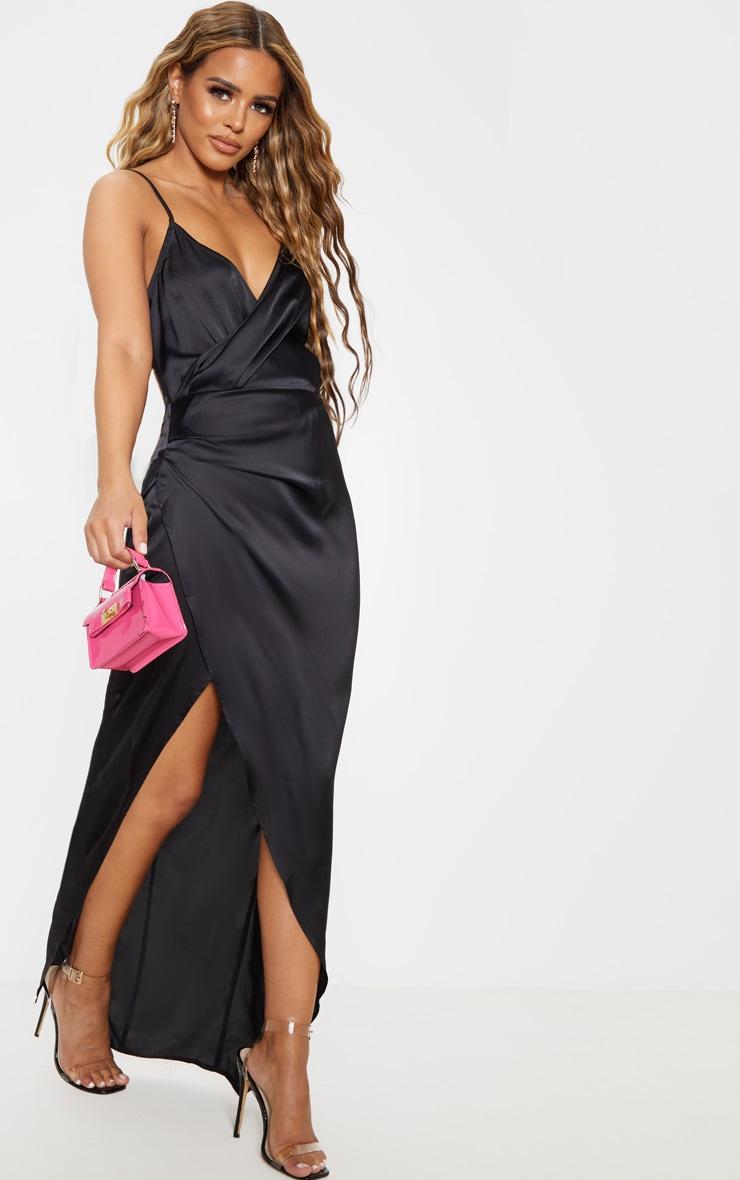 Petite - Robe longue satinée noire détail portefeuille 4