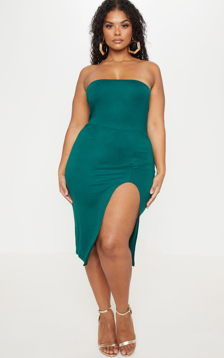 Plus Emerald Green Bandeau Split Front Midi Dress 4