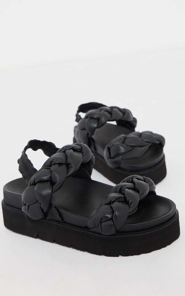 Black Real Leather Platted Twin Strap Flatfom Footbed Sandals 3