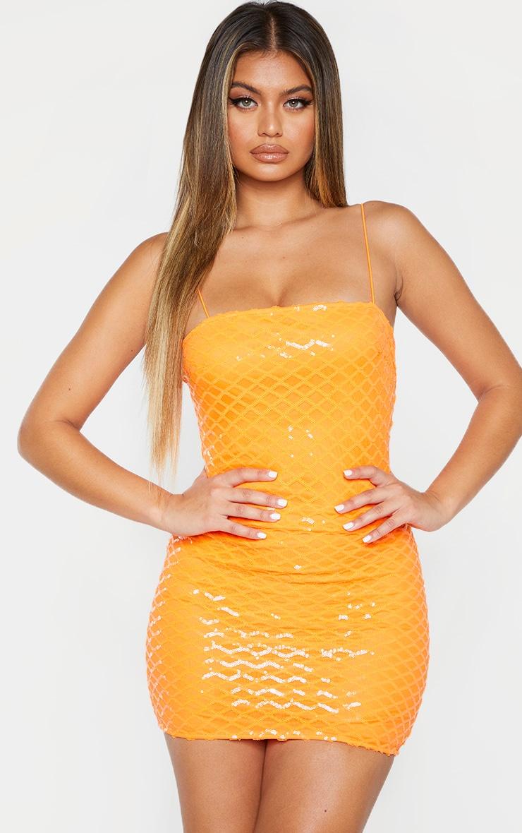 Robe moulante à bretelles orange fluo à sequins col droit 3