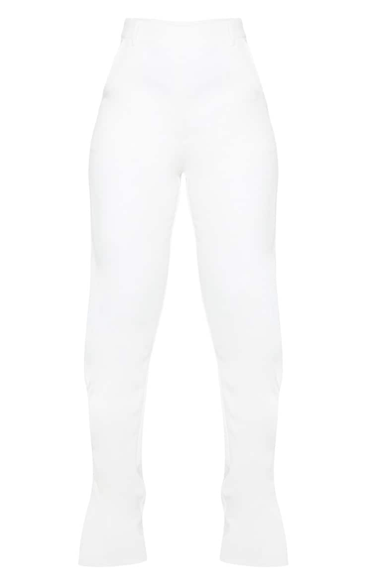 White Pleated Detail Tapered Hem Pants 5