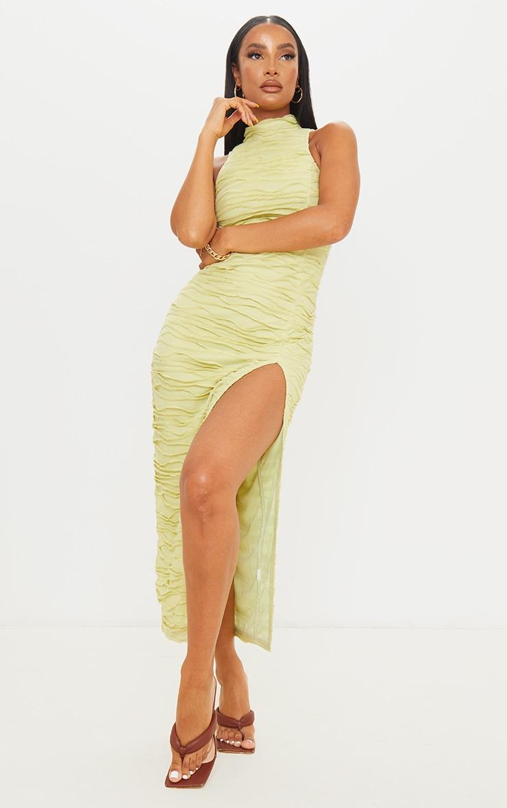 Green Exposed Seam Detail High Neck Sleeveless Midaxi Dress 1