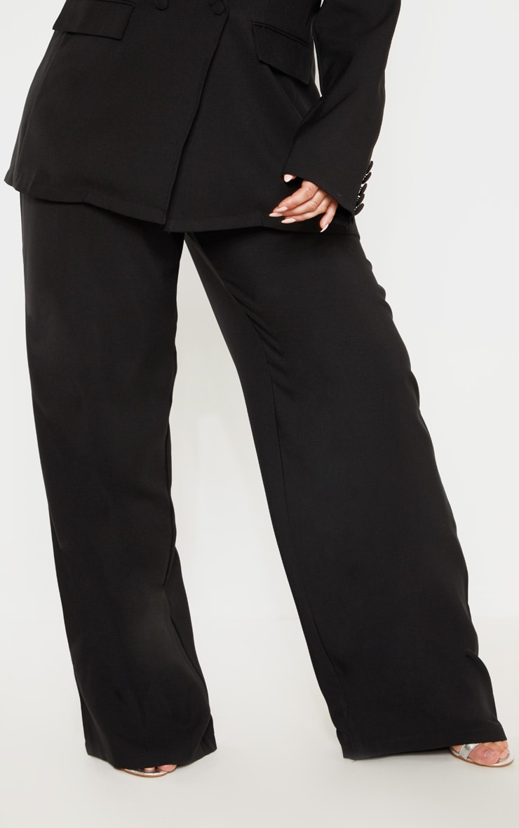 Plus Black Button Detail Wide Leg Pants 2
