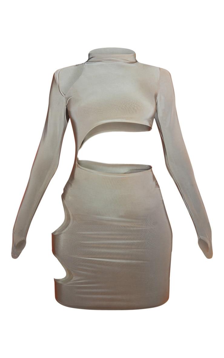 Stone Slinky Thumb Hole High Neck Cut Out Midi Dress 5
