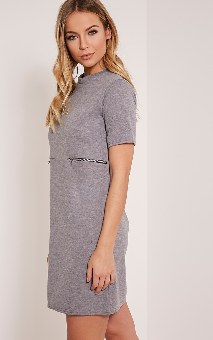Kendie Grey Zip Detail T Shirt Dress 4
