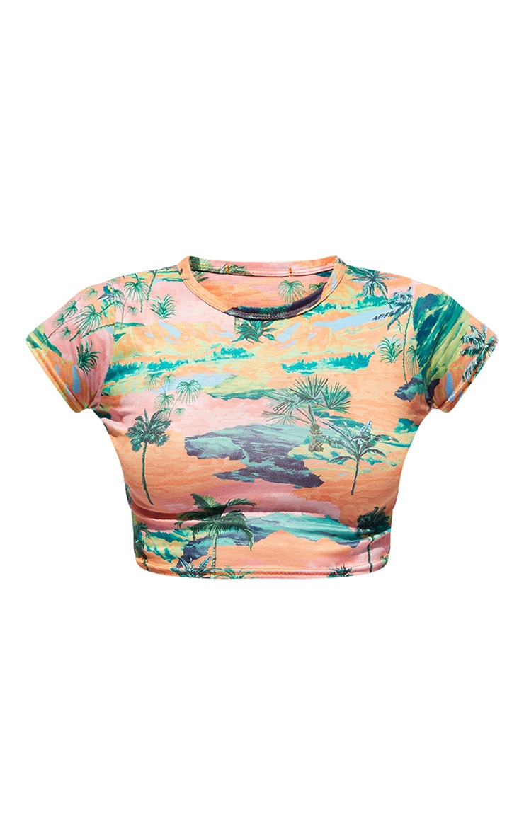 PRETTYLITTLETHING Multi Printed Cropped Fitted T Shirt 5