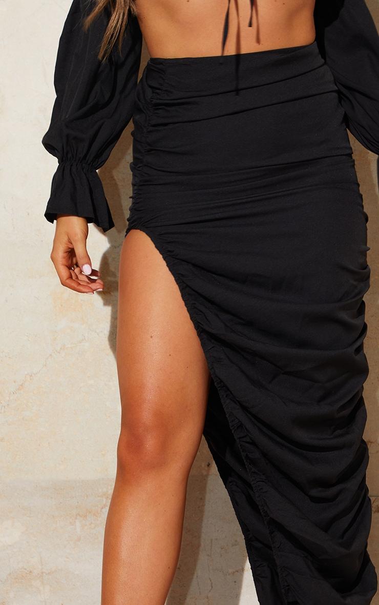 Black Woven Ruched Side Detail Split Leg Midaxi Skirt 4