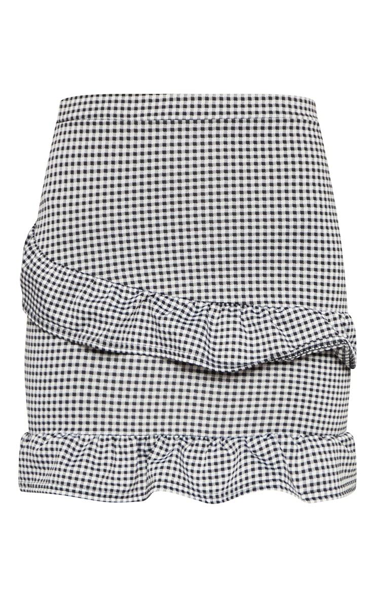 Black Gingham Check Frill Mini Skirt 3