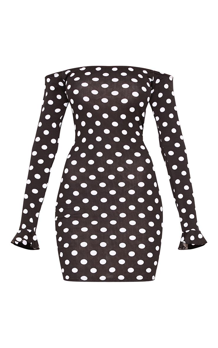 Cooper Black Polkadot Bardot Frill Cuff Bodycon Dress 3