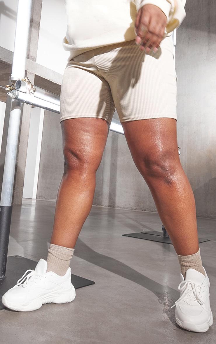 RENEW Plus Beige Rib Cycle Shorts 2