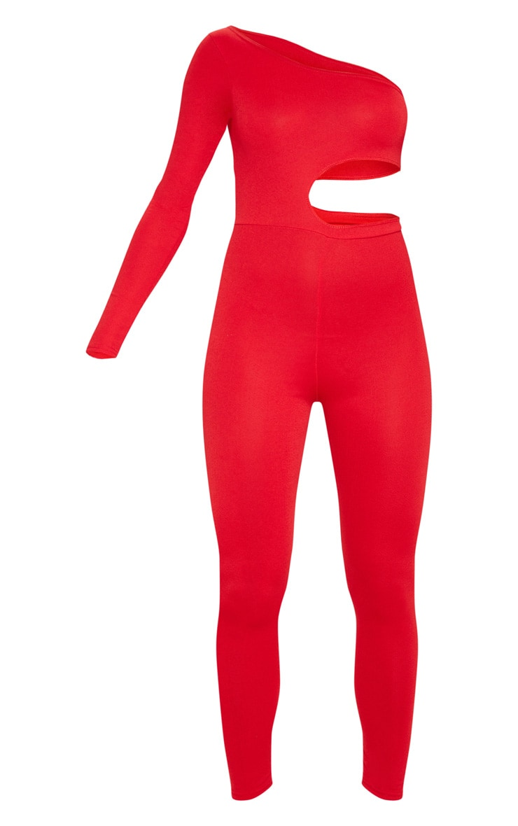 Red Long Sleeve Cut Out Jumpsuit 6