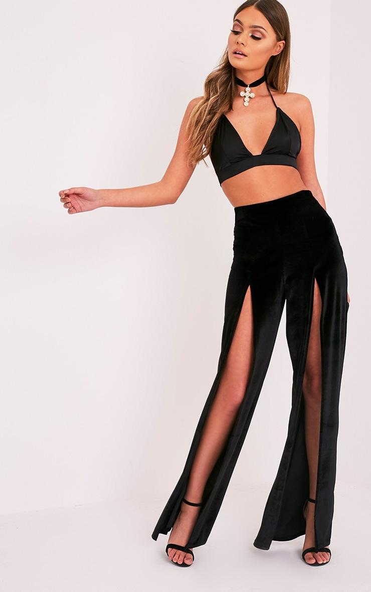 Kiley Black Split Front Velvet Wide Leg Trousers 1