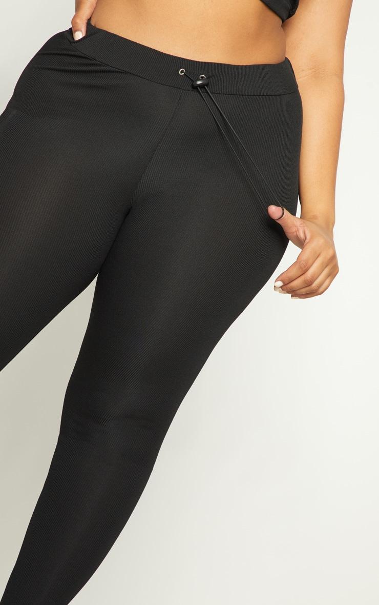 Plus Black Ribbed Leggings 5