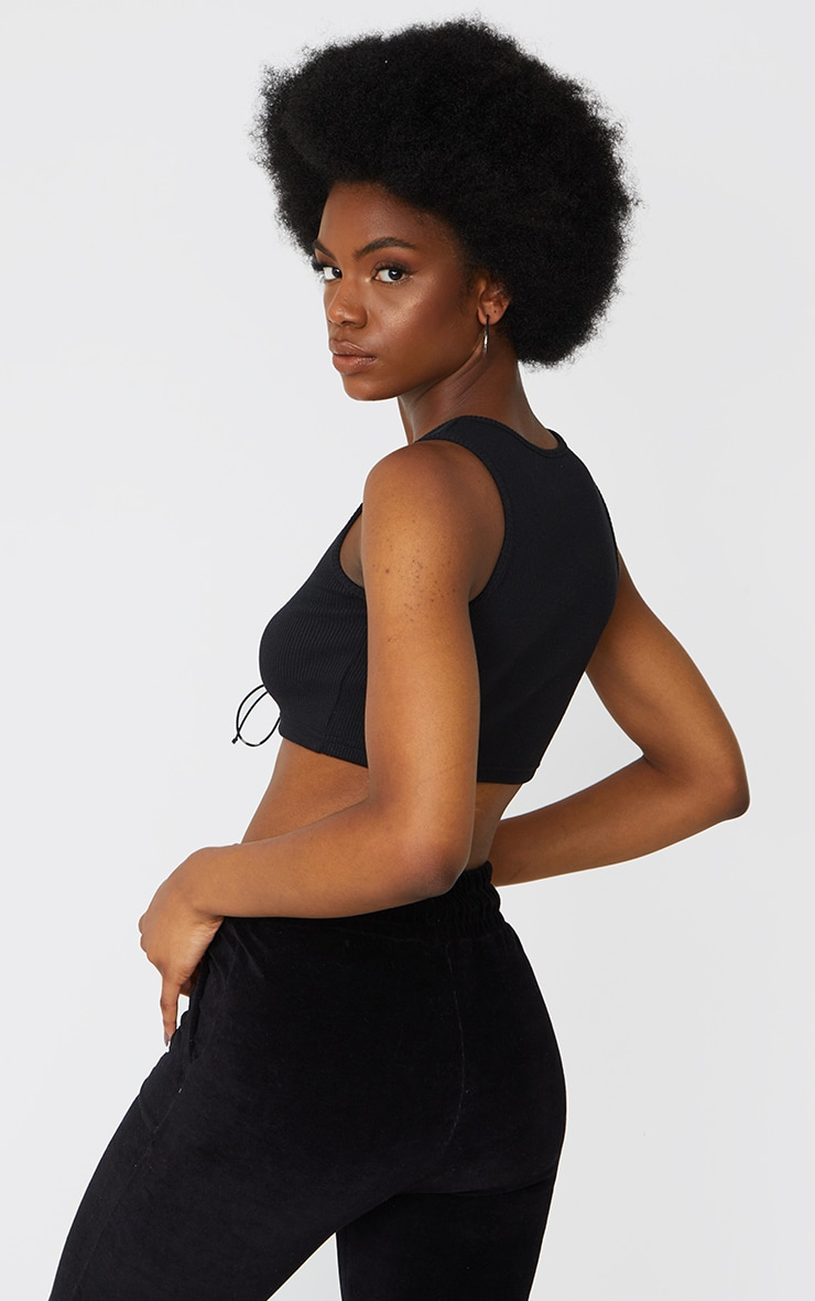 Black Rib Lace Up Racer Crop Top 2