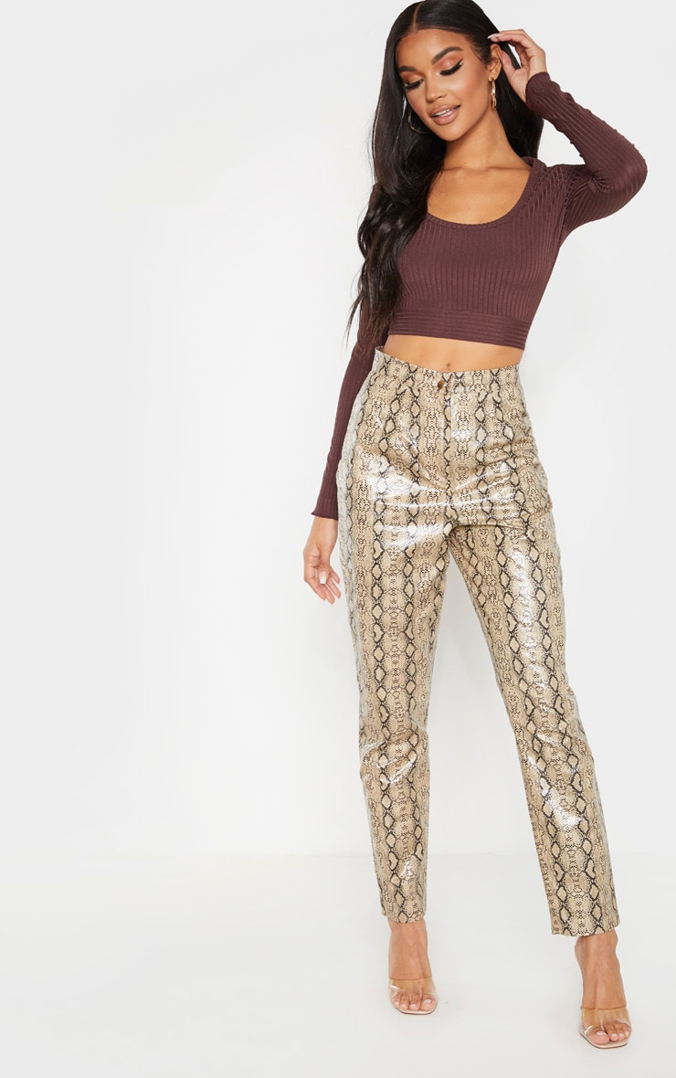 Chocolate Rib Tie Scoop Neck Crop Top 4