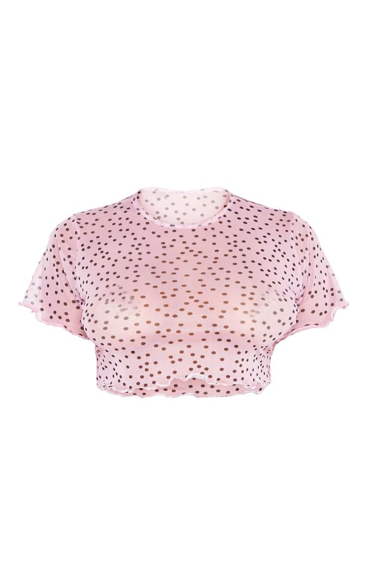 Petite - Crop top en mesh rose tendre à pois 3