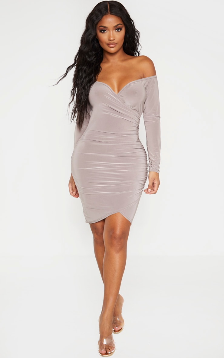 Shape Mocha Ruched Bardot Bodycon Dress 4