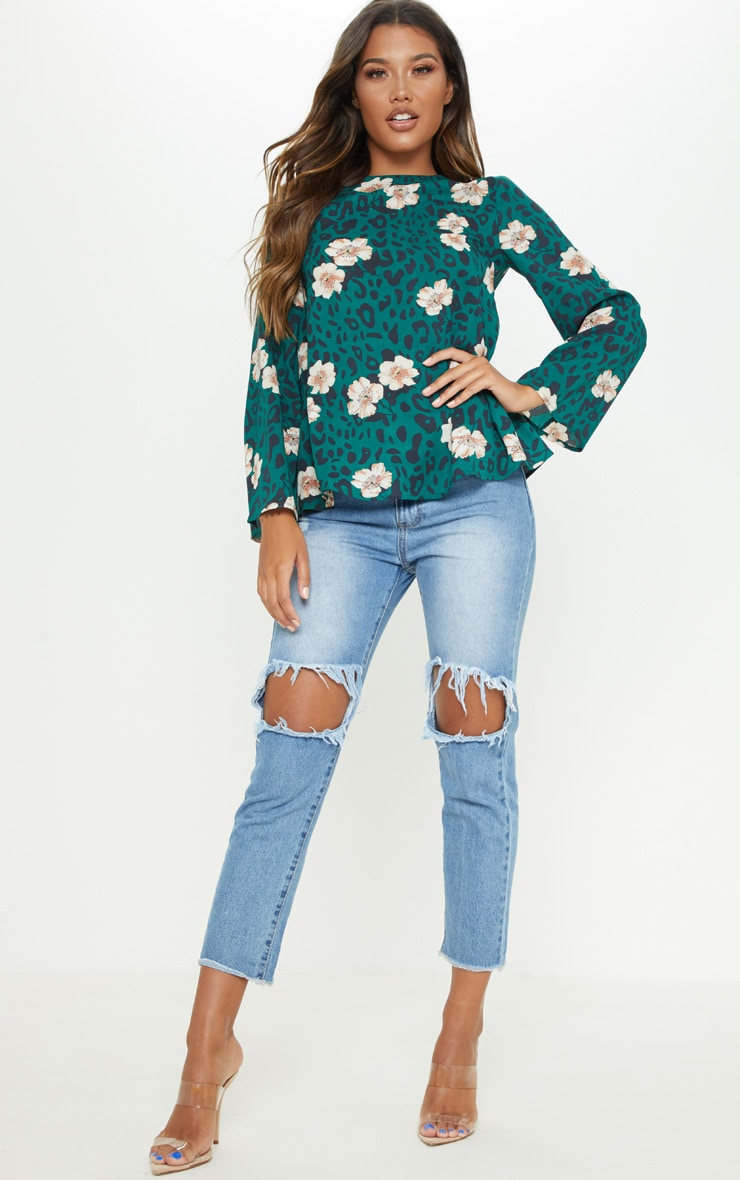 Green Mixed Print Backless Blouse 4