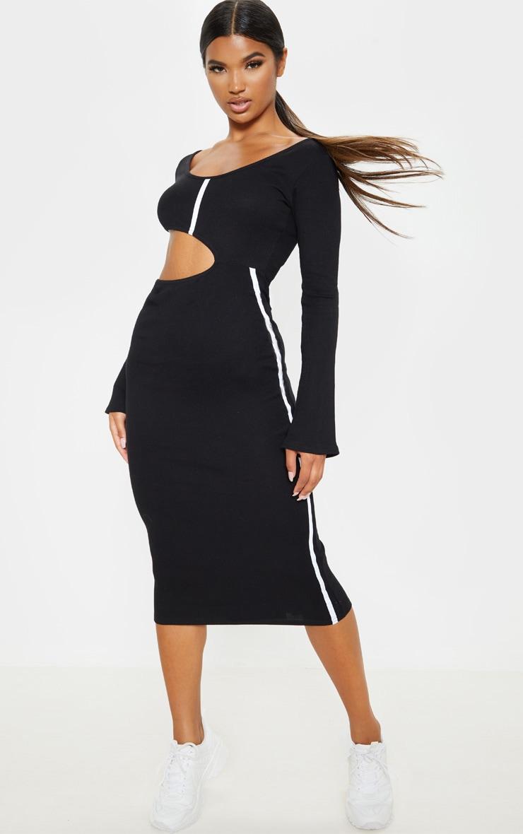 Black Rib Contrast Trim Cut Out Long Sleeve Midi Dress 1