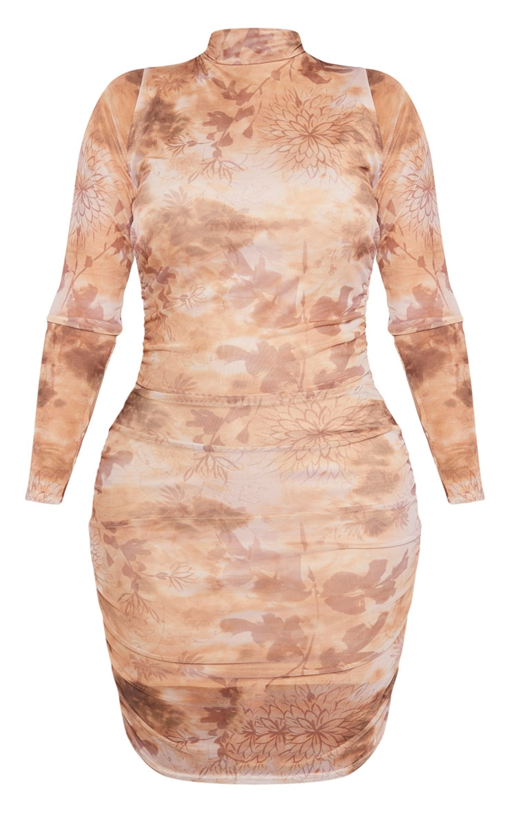 Shape Nude Oriental Print Long Sleeve Bodycon Dress 3