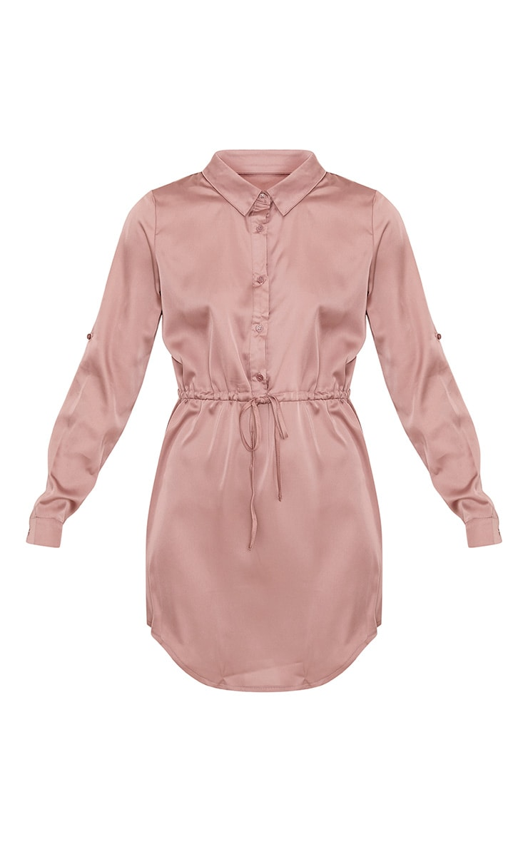 Amanda Mink Tie Waist Satin Shirt Dress 3