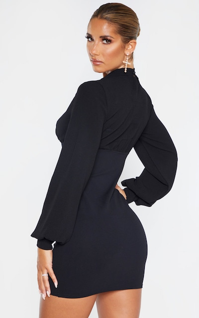 Black Balloon Sleeve Ruched Bust Bodycon Dress