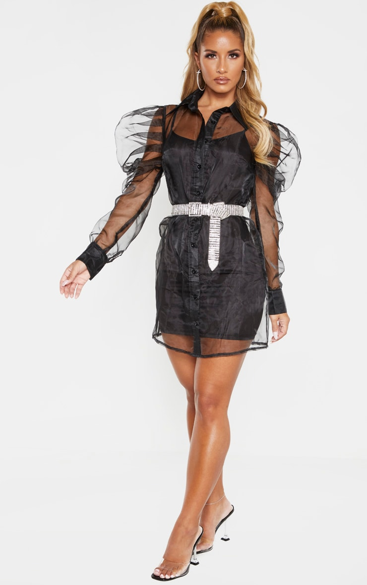 Black Puff Shoulder Organza Shirt Dress 4