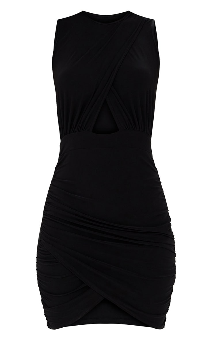Black Cross Over Ruched Bodycon Dress 3