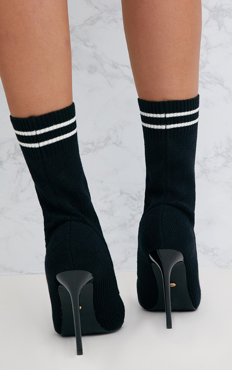 Black Sports Stripe Ankle Sock Boot 4