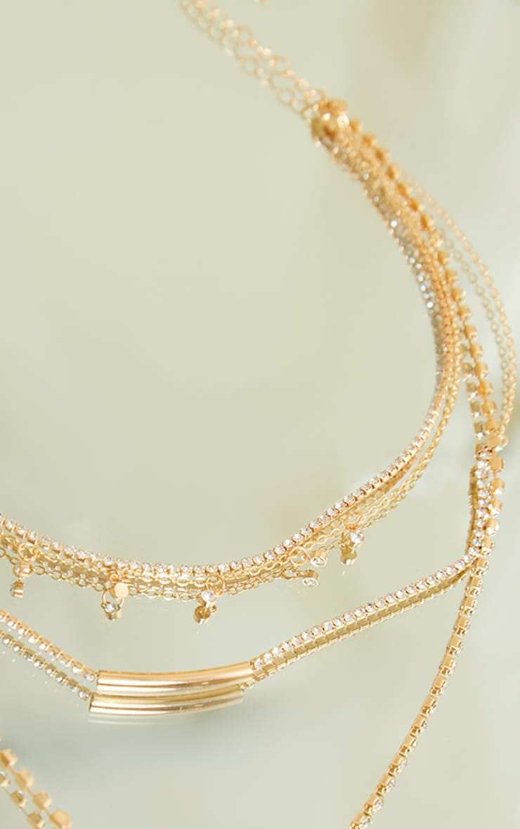 Gold Thin Diamante Layering Chain Necklace 3