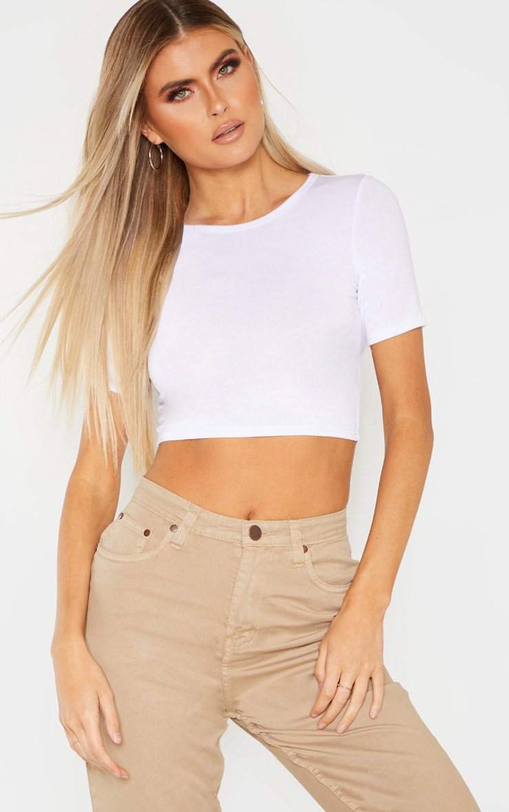 Tall White Short Sleeve Crop Top 1