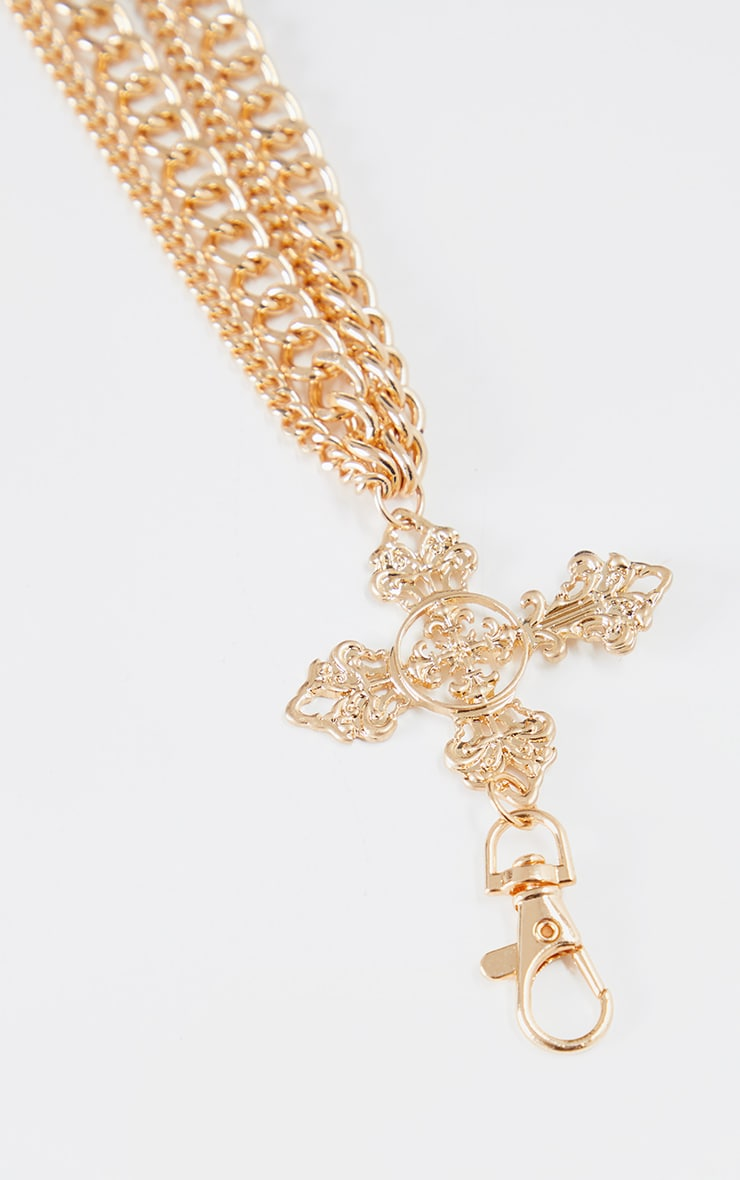 Gold Multi Side Cross Pendant Chain Belt 2
