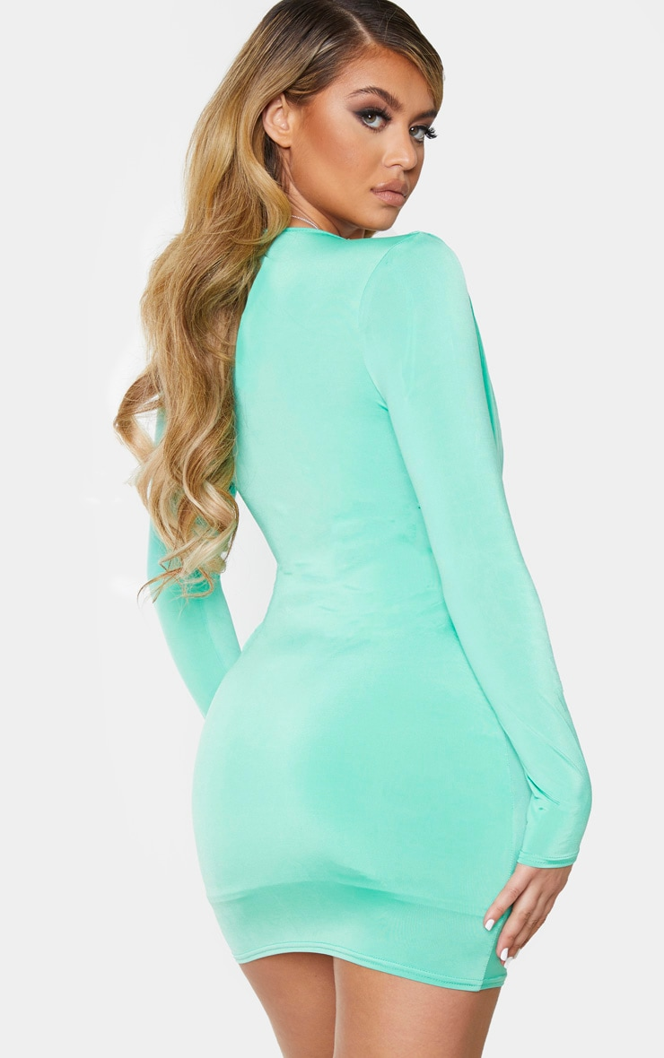 Green Slinky Ruched Front Drape Detail Bodycon Dress 2