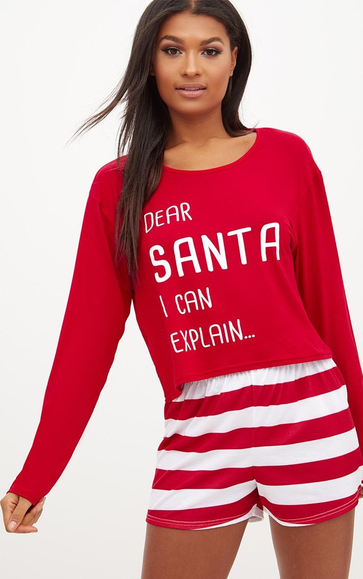 Red Dear Santa I Can Explain Crop Short Set 1