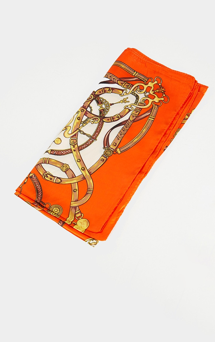 Orange Chain Print Bandana 2