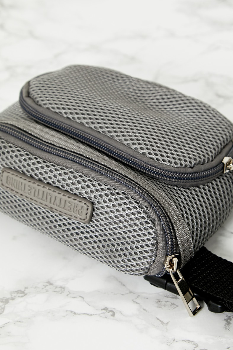 PRETTYLITTLETHING Grey Mesh Bum Bag 5