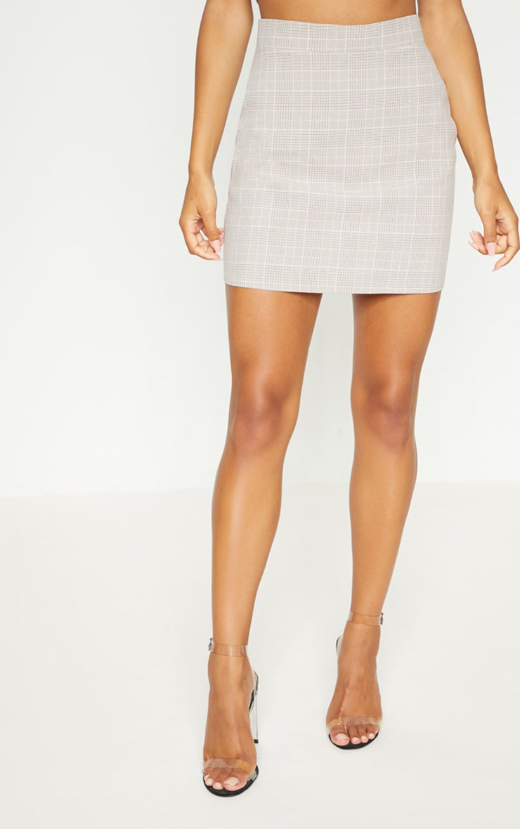 Mocha Check High Waisted Skirt 3