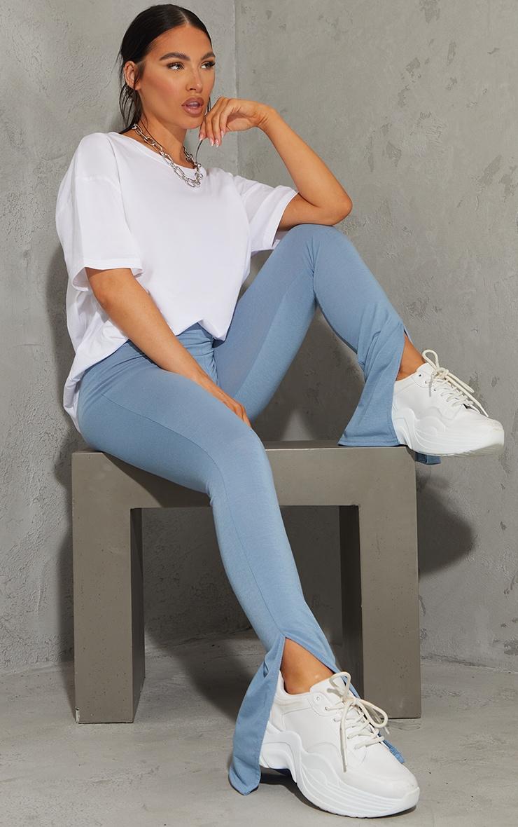 Light Blue Basic Jersey Split Hem Leggings 1