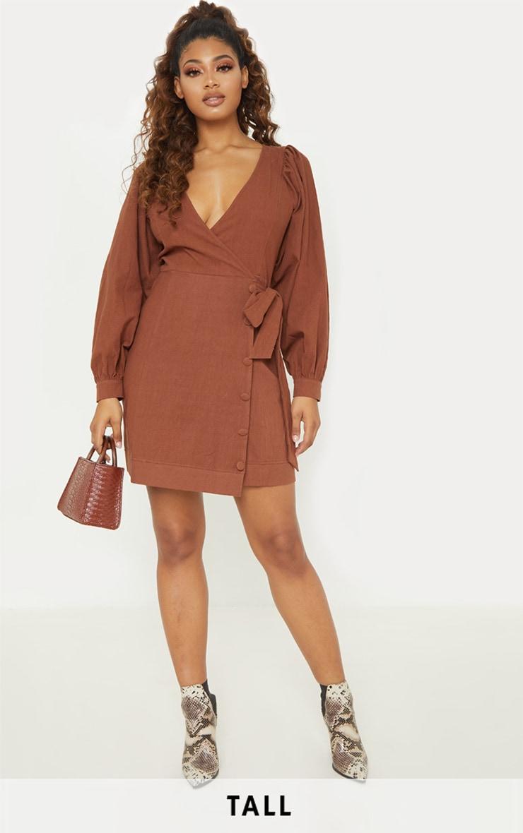 Tall Chocolate Brown Woven Puff Sleeve Button Detail Shift Dress 1