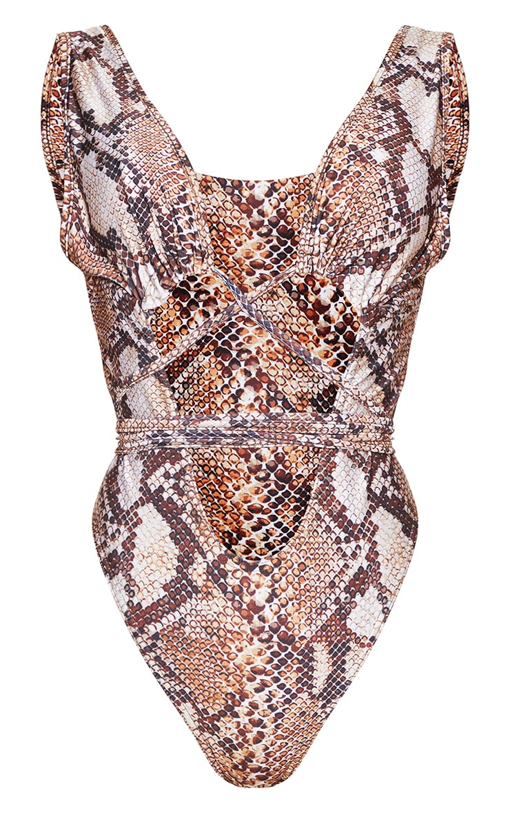 Brown Snake Cut Out Wrap Around Swimsuit 5