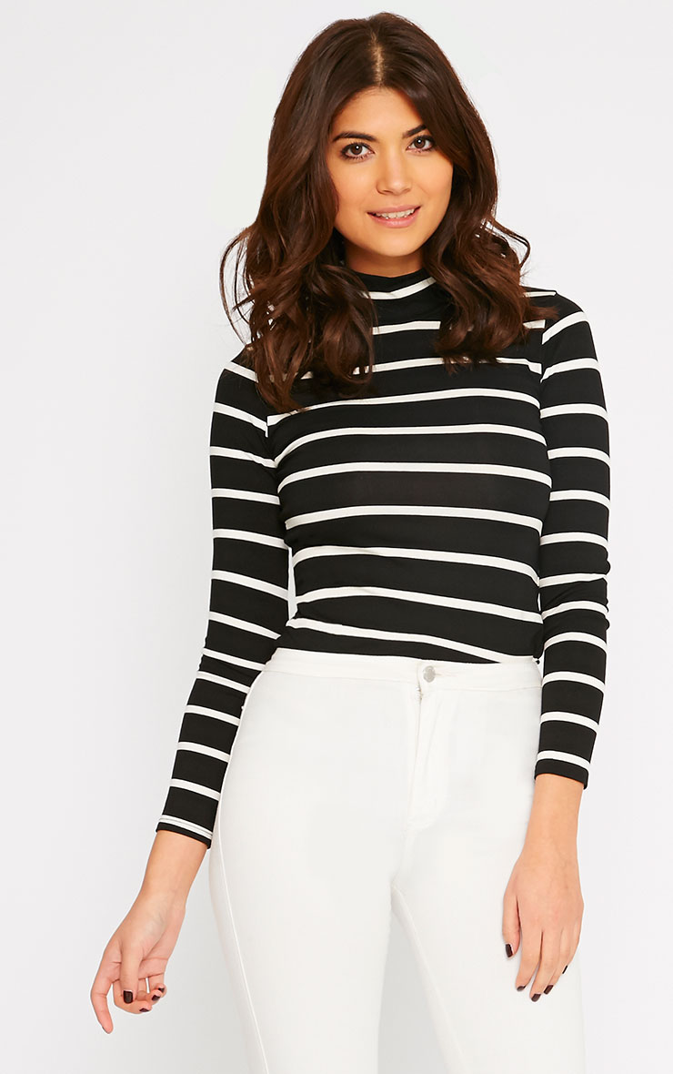 Dani Black Stripe Turtle Neck Top 4