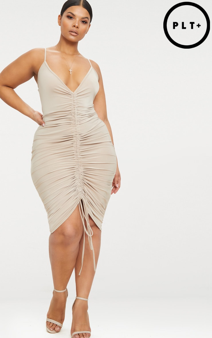 Plus Stone Slinky Strappy Ruched Midi Dress 5