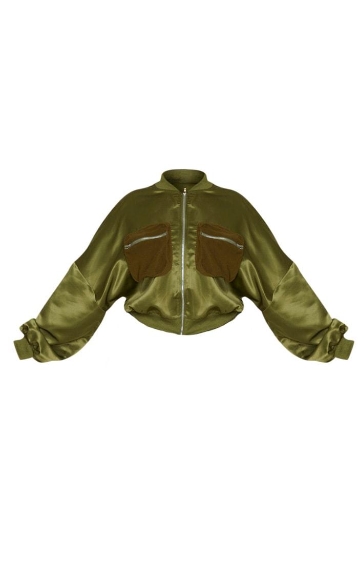 Plus Khaki Satin Bomber Detail Jacket 3