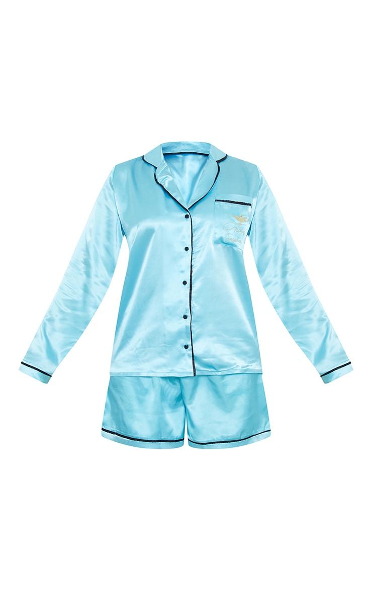 Turquoise Disney Princess Jasmine Embroidered Short Satin PJ Set 5
