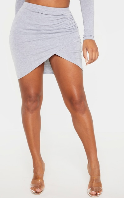 Shape Grey Marl Jersey Ruched Bodycon Skirt