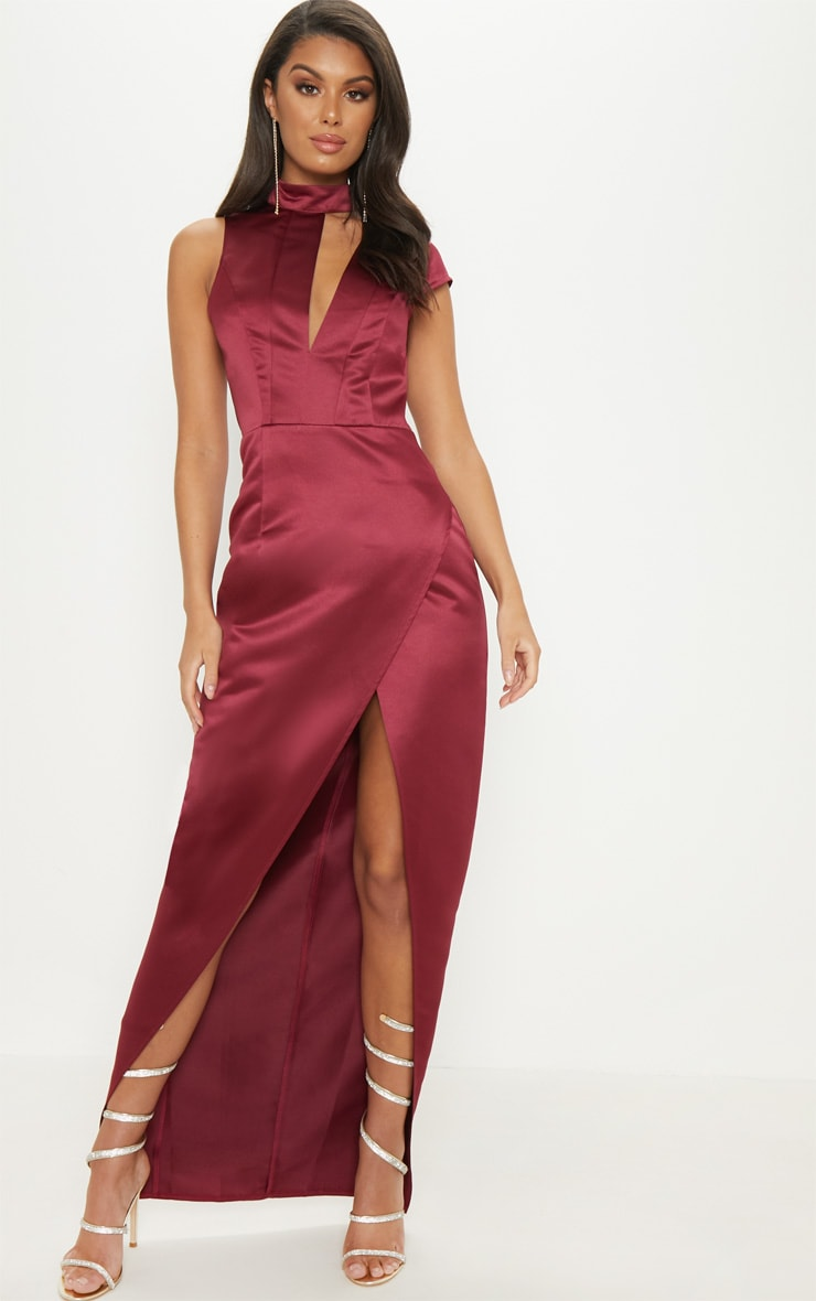 Burgundy Satin Drape Detail Wrap Maxi Dress 1