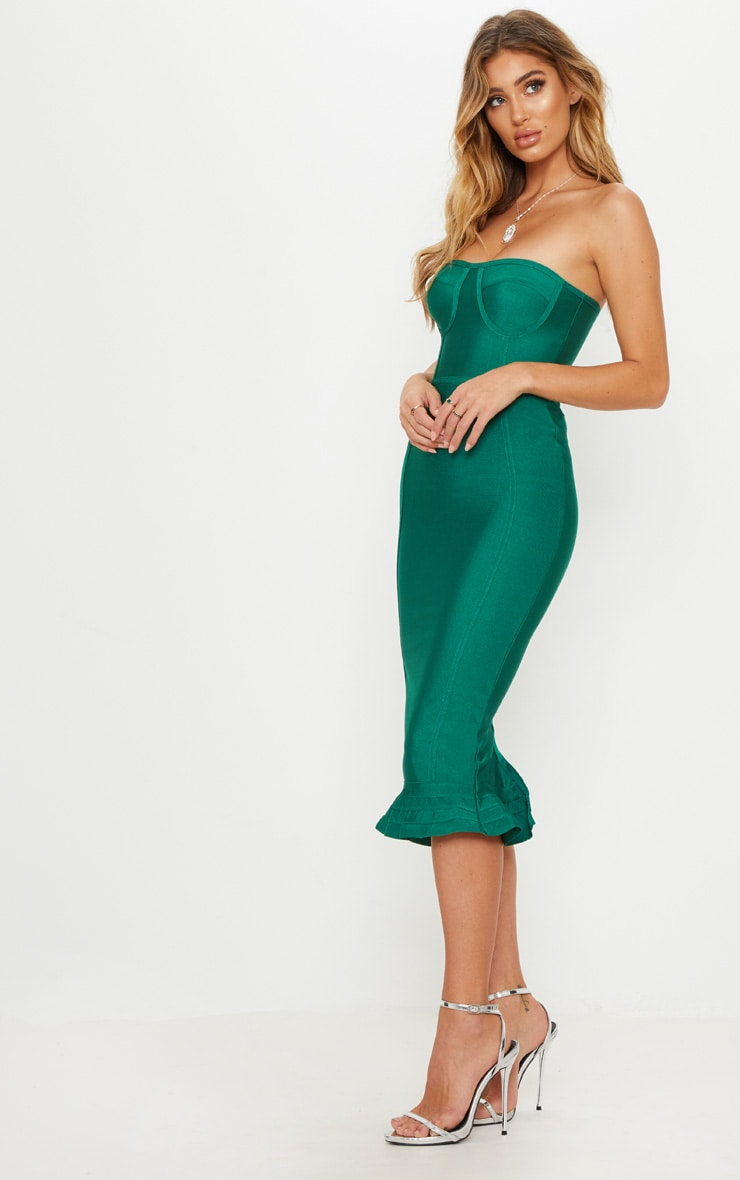 Green Bandage Frill Hem Midi Dress  4